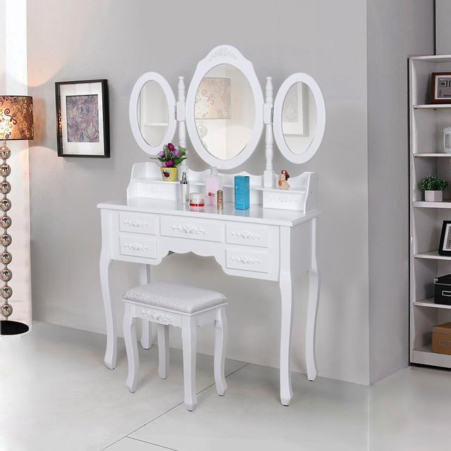 Rocambolesk superbe coiffeuse blanc table de maquillage grand commode avec 3 miroirs - Table de maquillage coiffeuse ...
