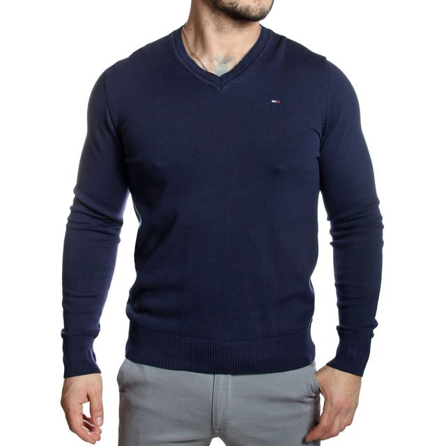 wholesale dealer reasonably priced shopping Tommy Hilfiger - Pull homme col V stretch ajusté bleu marine ...