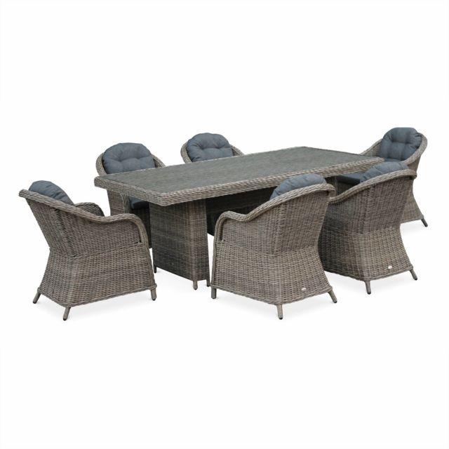alice 39 s garden table de jardin en r sine tress e arrondie lecco naturel coussins. Black Bedroom Furniture Sets. Home Design Ideas