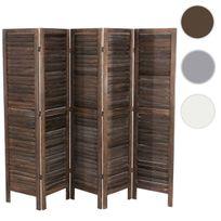Mendler - Paravent / s?paration bois, 5 pans, 228x2x170cm, shabby, vintage, marron