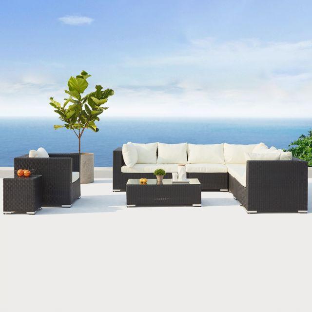 CONCEPT USINE - Salento noir/blanc : salon de jardin panoramique 8 ...