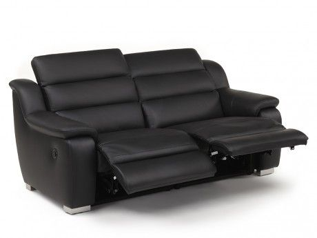 VENTE UNIQUE   Canapé 3 Places Relax électrique Cuir ARENA II   Noir