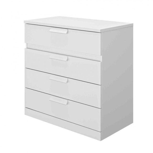 TERRE DE NUIT Commode 4 tiroirs en bois blanc - CO5030