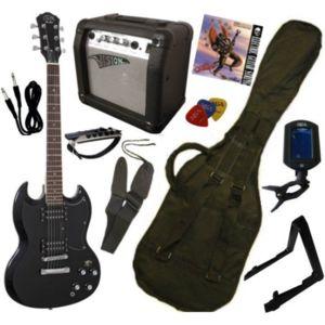 j d pack guitare electrique type sg noire 9 accessoires. Black Bedroom Furniture Sets. Home Design Ideas