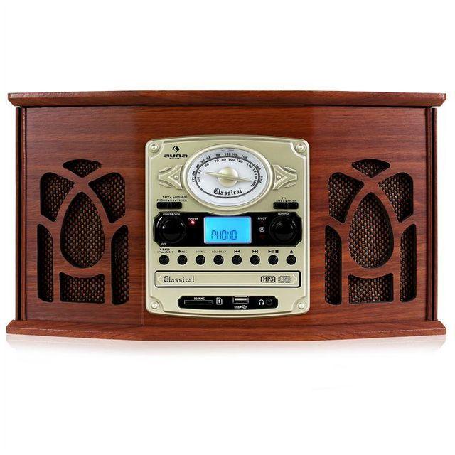 AUNA - NR-620 Chaîne hifi stéréo tourne-disque enregistrement en bois marron