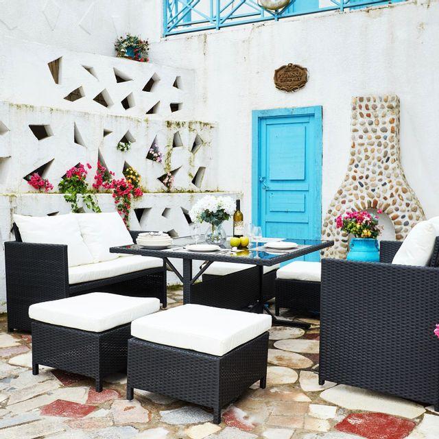 CONCEPT USINE Nouméa Noir/Blanc : salon de jardin encastrable en résine tressée 8 personnes