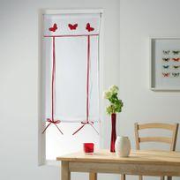 Cdaffaires Store droit passe tringle 60 x 160 cm voile+top brode opaline Rouge