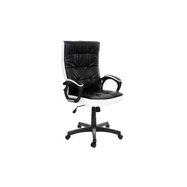 MILIBOO Fauteuil de bureau design noir et blanc LORENZO
