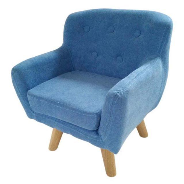 No Name - Charlotte Fauteuil enfant pieds bois chene - Tissu - Bleu ...