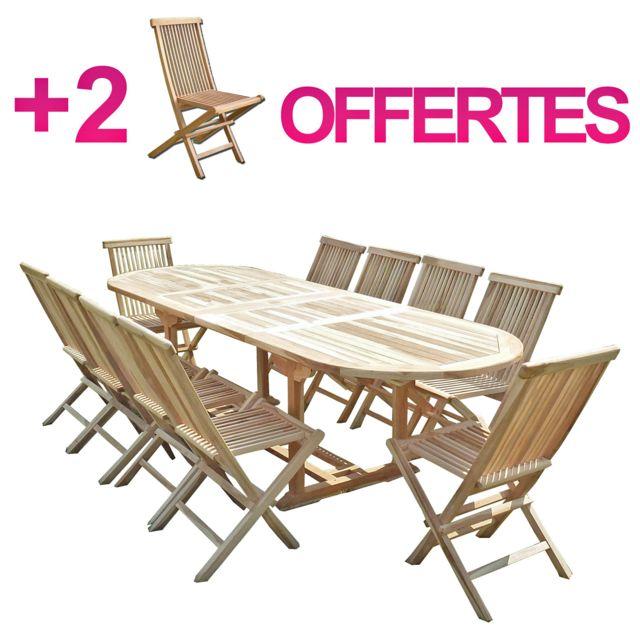 Ensemble salon de jardin en teck Henua 10 chaises - Bundle chaises