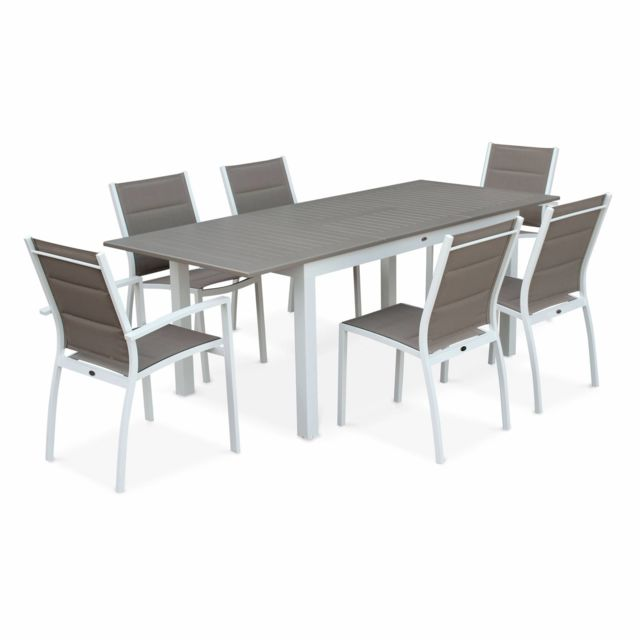 Table Jardin Avec Rallonge.Salon De Jardin Table Extensible Chicago 210 Taupe Table En Aluminium 150 210cm Avec Rallonge Et 6 Assises En Textilene