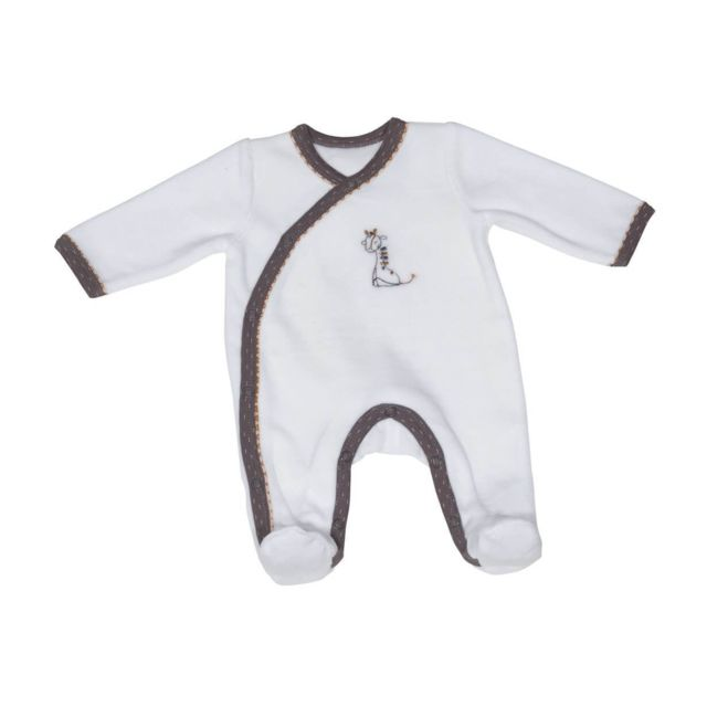 Sauthon - Pyjama velours blanc naissance Kenza - pas cher Achat   Vente  Pyjamas df5a3af5bf7