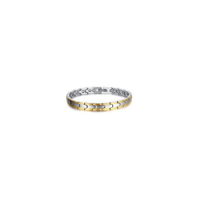 f201b816f133d Alpexe - Bracelet plat à maillons argenté et doré pour homme Acier - pas  cher Achat   Vente Bracelets - RueDuCommerce