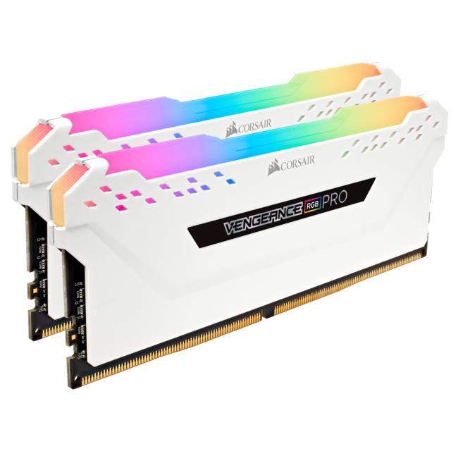 CORSAIR Vengeance RGB PRO 16 Go 3600 MHz CAS 18 - Blanc Le module de mémoire CORSAIR VENGEANCE RGB PRO Series DDR4 illumine votre PC avec un éclairage RGB multizone envoûtant et dynamique tout en offrant les meilleures performances et stabilité de la gamm