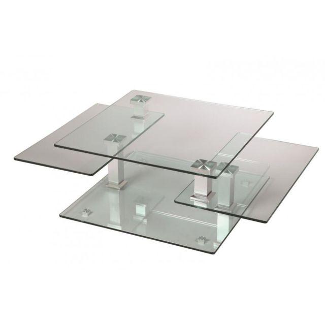 Inside 75 Table basse design Cube en verre et piétement acier chromé