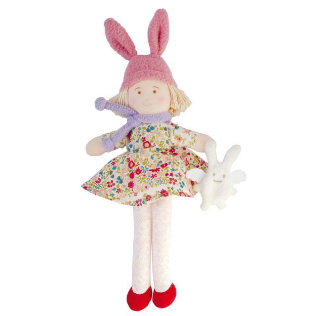 Trousselier - Poupée Bonnet Lapin Robe Fleurs Rouge 22 cm - pas cher ... 3425b38d5fe