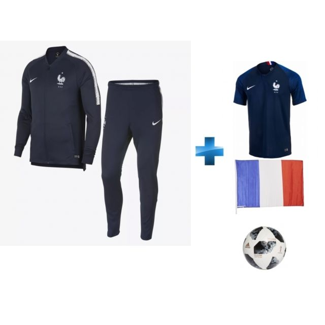 560697dd3d Nike - SURVETEMENT EQUIPE DE FRANCE - BLEU - COUPE DU MONDE 2018 + BALLON  ADIDAS