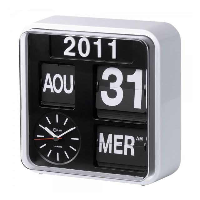 aic horloge flip flap r tro avec calendrier orium hisrev13 pas cher achat vente r veil. Black Bedroom Furniture Sets. Home Design Ideas