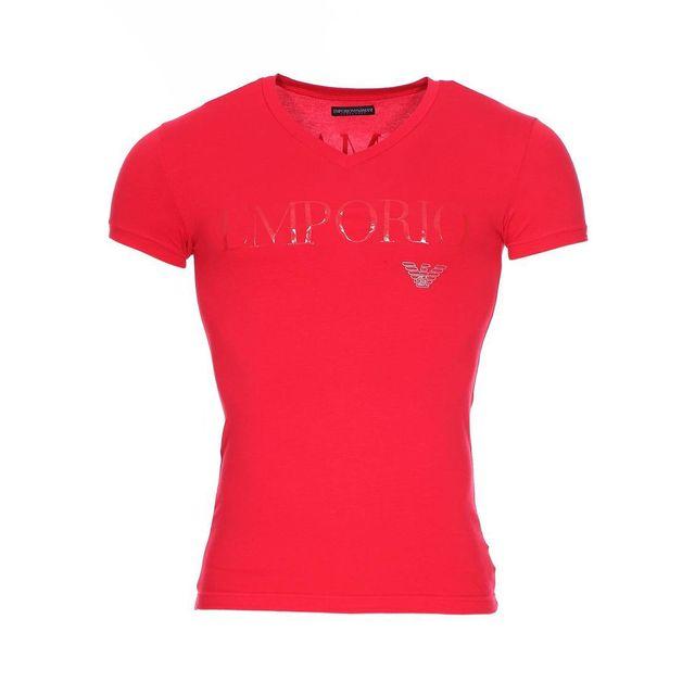 Armani Ea7 - Tee-shirt col V Emporio Armani en coton stretch rouge floqué sur  la poitrine et le dos - pas cher Achat   Vente Tee shirt homme -  RueDuCommerce 1810e816164