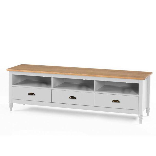 Meuble Tv 3 tiroirs Blanc/Bois - Nelia