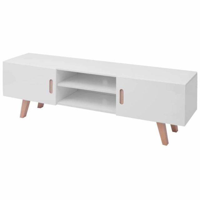 Helloshop26 Meuble télé buffet tv télévision design pratique mdf 150 cm blanc brillant 2502042
