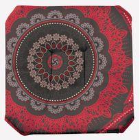 Le Linge De Jules - Galette de chaise anti-taches à rabat Mandala Rouge