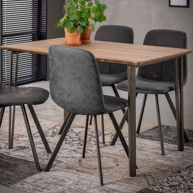 Nouvomeuble Table 120 cm couleur chêne et métal Katniss
