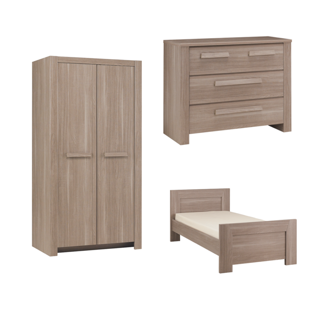 Gami Chambre complète lit junior 90x190 - commode 3 tiroirs - armoire 2 portes Hangun - Bois
