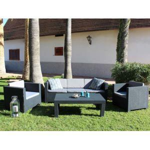 Habitat et Jardin - Salon de jardin en résine Tropea - Anthracite ...