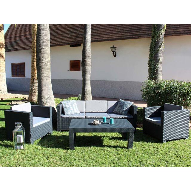 habitat et jardin salon de jardin en r sine tropea anthracite nc pas cher achat vente. Black Bedroom Furniture Sets. Home Design Ideas