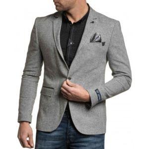 blz jeans blazer homme gris chic avec coudi res pas cher achat vente blouson homme. Black Bedroom Furniture Sets. Home Design Ideas