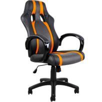 Rocambolesk - Superbe Fauteuil Chaise de bureau ergonomique Gamer Pc Siège noir Rembourée Inclinable Réglable Simili Cuir Pu Neuf