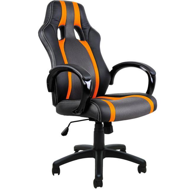 rocambolesk superbe fauteuil chaise de bureau ergonomique gamer pc si ge noir rembour e. Black Bedroom Furniture Sets. Home Design Ideas