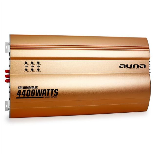 AUNA Goldhammer Ampli auto 4 canaux 4400W -doré