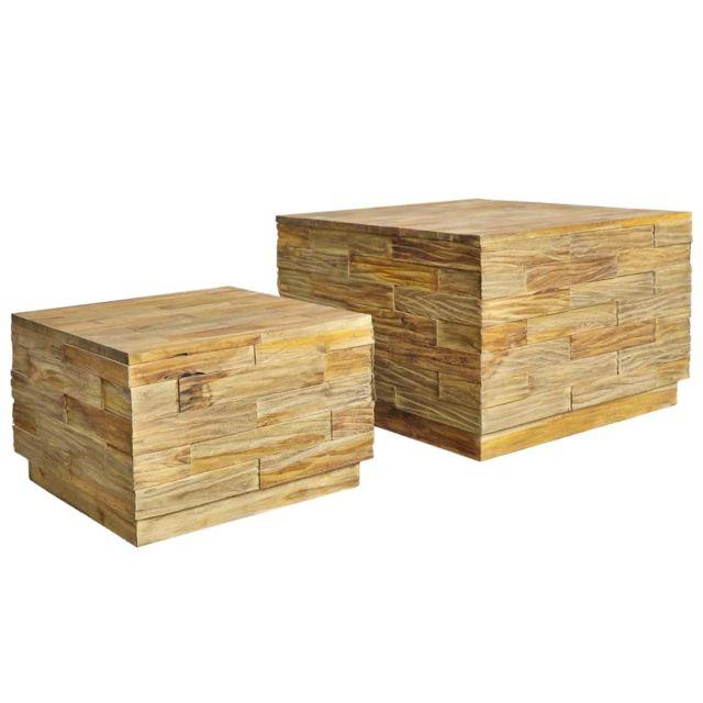 Vidaxl Teck Solide 2x Table Basse Table de Canapé Table de Salon Meubles