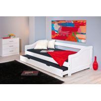Kalitat - lit banquette 90 x 190 cm - pin massif teinté blanc - avec 2 sommiers