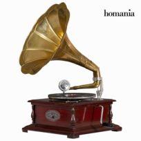 Marque Generique - Gramophone en forme de carré laiton - bois d'acacia lecteur vinyles