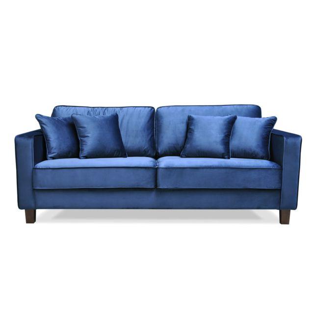 AXE DESIGN Canapé fixe 3 places en velours avec 4 coussins décoratifs GATSBY - Bleu