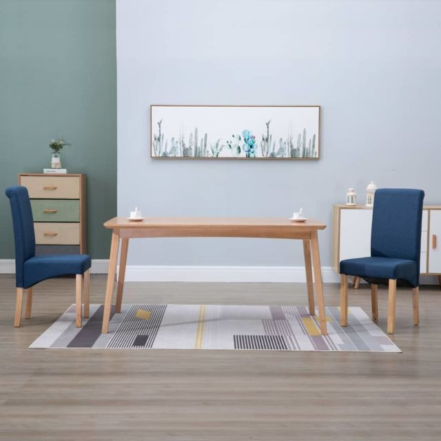 Inedit Fauteuils et chaises serie Oslo Chaises de salle à manger 2 pcs Bleu Tissu