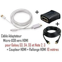 Cabling - Cable Adaptateur micro usb vers hdmi Mhl pour telephone samsung galaxy S4 - Samsung Infuse 4G - galaxy Nexus - Premium qualité - Blanc + coupleur Hdmi + cable Hdmi 10M