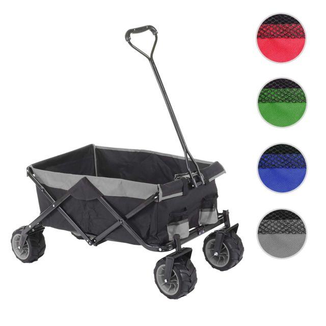 Mendler Chariot pliable Hwc-e62, charette à bras, pneus tout terrain ~ sans recouvrement noir/gris