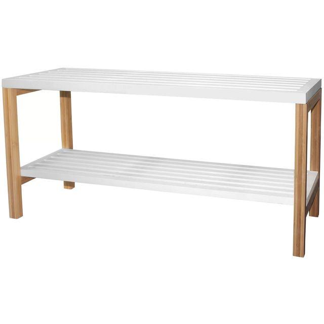 promobo etag re banc salle de bain 2 niveaux en bambou blanc pas cher achat vente etag res. Black Bedroom Furniture Sets. Home Design Ideas