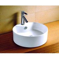 Maison De La Tendance - Vasque rond à poser sur un meuble de bain 46x46x17 cm en céramique