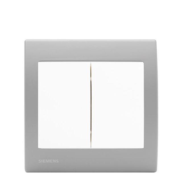 Siemens - Double Poussoir Blanc Delta Iris + Plaque basic Silver