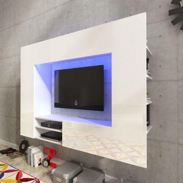 Vidaxl Unite Murale De 169 2 Cm En Blanc Brillant Pour Tv Led