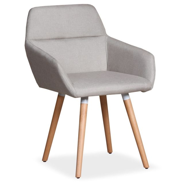 menzzo chaise fauteuil scandinave frida tissu beige - Chaise Fauteuil Scandinave