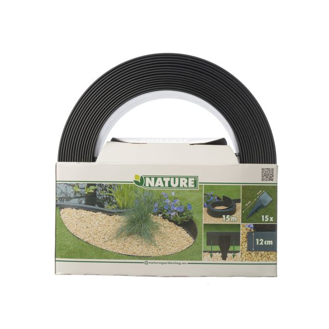 NATURE - Bordure en polyuréthane pour jardin et bassin Noir - 15 m x ...