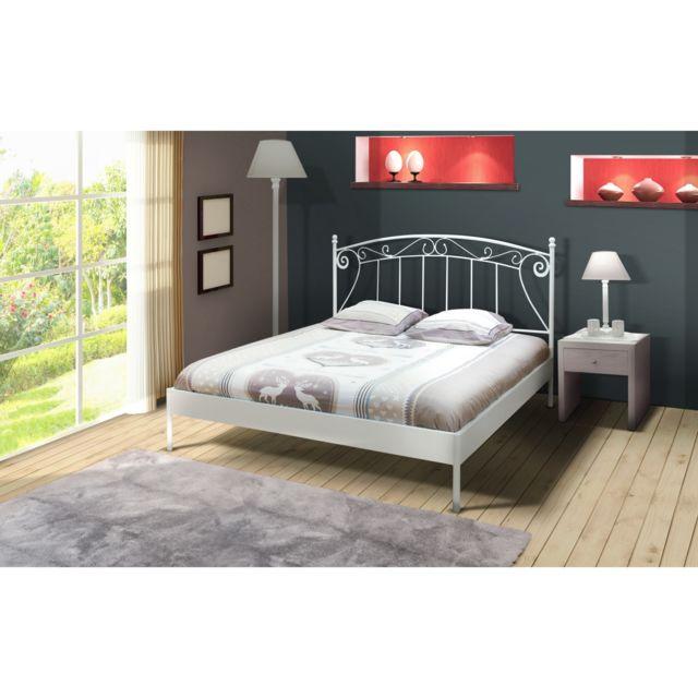 topdeco lit 2 personnes 160x200 cm romance blanc avec. Black Bedroom Furniture Sets. Home Design Ideas
