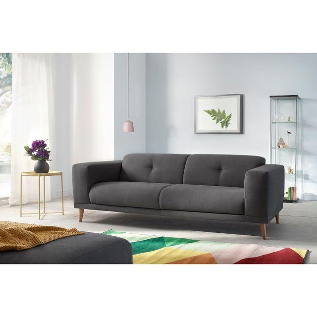 BOBOCHIC - Canapé LUNA avec Pouf - Style Scandinave - Gris foncé 93cm x 77cm x 225cm