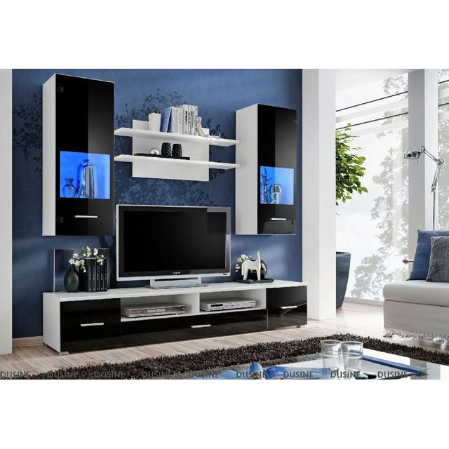 Dusine Meuble Tv mural Magnetic Noir brillant et Blanc mat 200cm